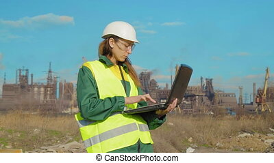 ingénieur, travail, ouvrier, jeune, emplacement, femme, travaux