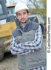 ingénieur travaux publics, sur, site