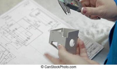 ingénieur, vernier, high-precision, détail, calibre, drawing., électronique, dimensions, factory., numérique, display., nombres, mesurer, conception, équipement