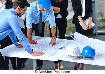ingénieurs, réunion, professionnels