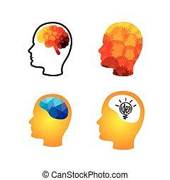 ingénieux, tête, cerveaux, créatif, vecteur, icône