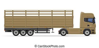 ingóságok, szállítás, semi, ábra, csereüzlet, kúszónövény
