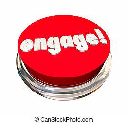 ingaggiare, bottone, comunicare, illustrazione, attivare, interagire, rosso, 3d
