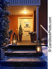 ingang, avond, deur, woning, welkom, kerstmis, kerstmis