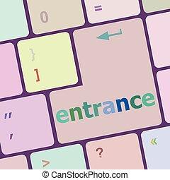 ingang, computer, knoop, illustratie, pc, vector, klee, toetsenbord