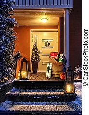 ingang, deur, woning, zak, versiering, kerstkado