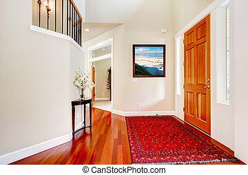 ingang, door., tapijt, groot, hout, luxehuis, rood