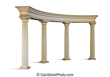 ingang, groep, klassieke stijl, white., 3d., kolommen