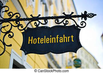 ingang, hotel, meldingsbord