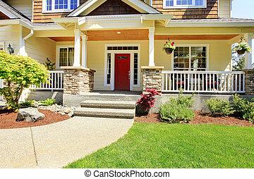 ingang, house., amerikaan, buitenkant, voorkant, aardig