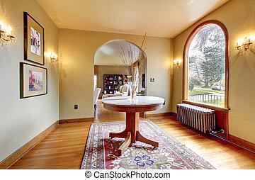 ingang, luxe, interieur, thuis, tafel., ronde