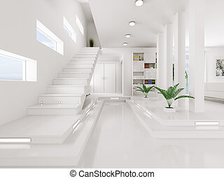 ingang, render, interieur, witte , zaal, 3d