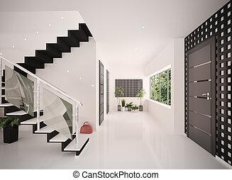 ingang, render, moderne, interieur, zaal, 3d