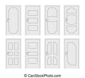 ingang, set, deuren, vector, interieur, witte