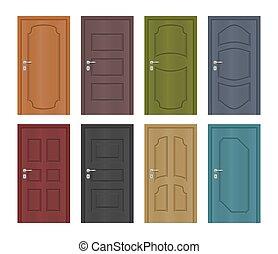 ingang, set, gekleurde, deuren, vector, interieur