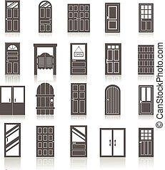 ingang, set, iconen, vrijstaand, deuren, voorkant