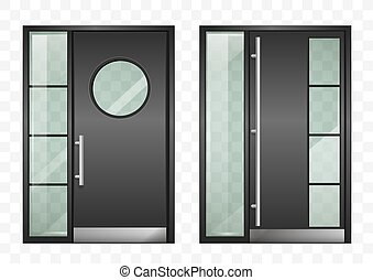 ingang, set, moderne, deuren