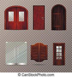 ingang, set, transparant, deuren