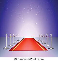ingang, stanchions, kabels, rood tapijt