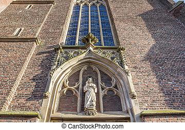 ingang, standbeeld, goch, arnold, st, boven, kerk, janssen