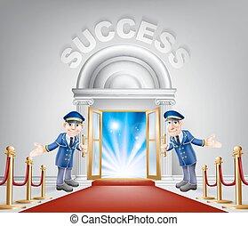 ingang, succes, rood tapijt