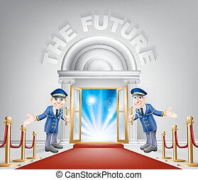 ingang, toekomst, rood tapijt