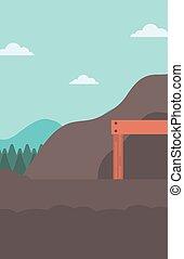 ingang, tunnel., mijnbouw, achtergrond