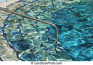 ingang, zwemmen, ladder, pool, water.