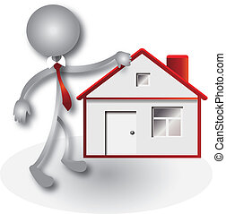 ingatlanügynök, épület, vektor, piros, jel