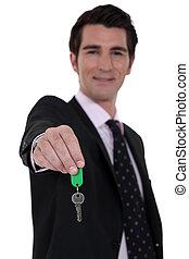 ingatlanügynök, lógó, kulcsok, épület