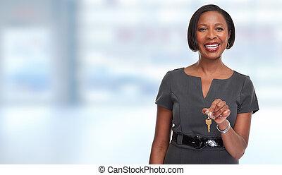 ingatlanügynök, nő, key., african-american