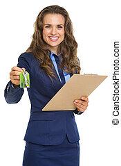 ingatlanügynök, nő, odaad, kulcsok, csipeszes írótábla,...
