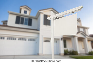 ingatlan tulajdon, épület, aláír, tiszta, elülső, új