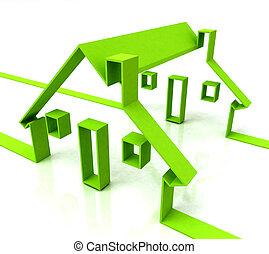 ingatlan tulajdon, épület, jelkép, zöld, rentals, vagy, látszik