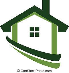 ingatlan tulajdon, épület, kép, zöld, jel