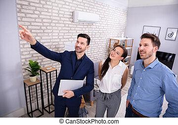 ingatlan tulajdon, épület, kiállítás, ügynök, párosít