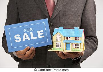 ingatlan tulajdon, épület, kiárusítás, ügynök, aláír, birtok, formál