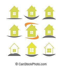 ingatlan tulajdon, épület, set., sablon, jel, ikon