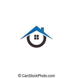 ingatlan tulajdon, épület, tervezés, sablon, jel, ikon