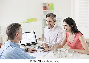 ingatlan tulajdon, kiállítás, ügynök, terv, szerkesztés, párosít
