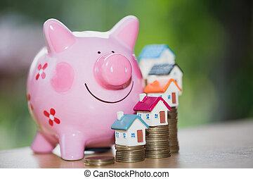 ingatlan tulajdon, kiárusítás, otthon, megtakarítás, falánk part, érmek, és, egy, épület, kölcsönad, piac, concept., ház, iparág, jelzálog, terv, és, tartózkodási, adót kiszab, megmentés, strategy.