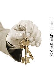 ingatlan tulajdon, kulcsok, végrehajtó, két, kéz, dél, birtok, hím