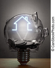 ingatlan tulajdon, vagy, otthon, megtakarítás
