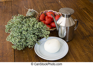 Ingedients - Typical italian cuisine ingredients as oil, ...