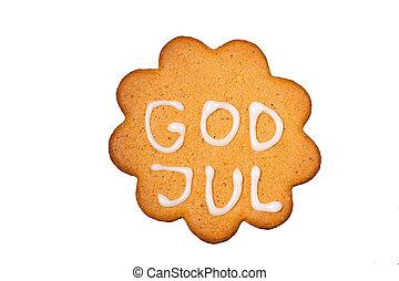 ingefærkage, biskuiten, isoleret, gud, jul