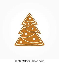 ingefærkage, træ, jul, cookie.