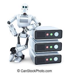 ingegnere, con, pila, di, servers., isolated., contiene, percorso tagliente