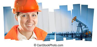 ingegnere, donna, in, un, olio, field., collage,...