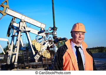 ingegnere, in, un, campo petrolifero