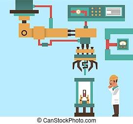 ingegnere, informazioni, vettore, laser, tecnologia, work., sistema, process., robot, illustrazione, robotic, produzione, braccio, tentacles., computer, elettronica, fili, graphics., professore, avanzato